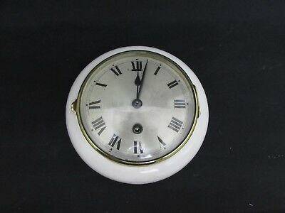 Antique White Enameled Wooden Bulkhead Ships Clock HAC Movement For Repair