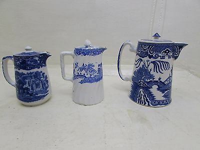 Three Antique Blue & White Lidded Jugs Tea / Coffee / Hot Water, Repairs/Issues