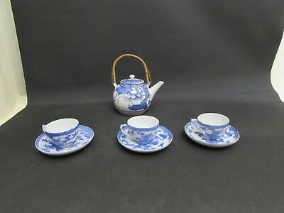 Antique Chinese Blue & White Transfer Teapot & 3 Cups With Saucers