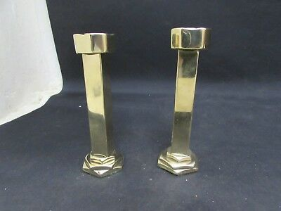 Pair Of Arts & Crafts Solid Brass Candle Holders 12cm