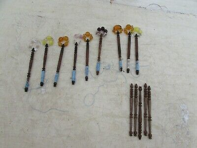 14 Vintage Turned Wood Lace Making Bobbins 9 With Spangle Beads