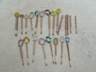 22 Vintage Old Turned Wood Lace Making Bobbins 17 With Spangle Beads