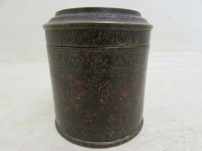 Antique Islamic Painted Bronze Tea Caddy Lidded Storage Pot