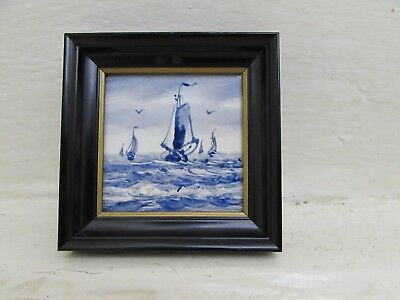 "Antique Dutch Delft Blue & White Hand Painted Ship Design Ceramic 3"" Tile"