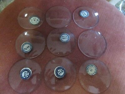 9 Vintage Thick Dome Glass Crystals For Pocket Watches With Minor Flaws