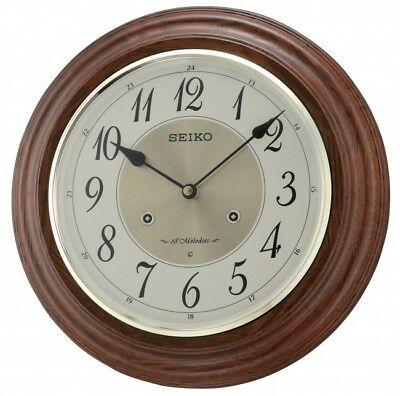 Seiko 32cm Oak Finish Musical 18 Melody Chime Wooden Wall Clock RRP £95.00