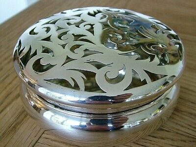 Large Table Top Hm1908 Antique Solid English Silver Potpourri Box Art Nouveau