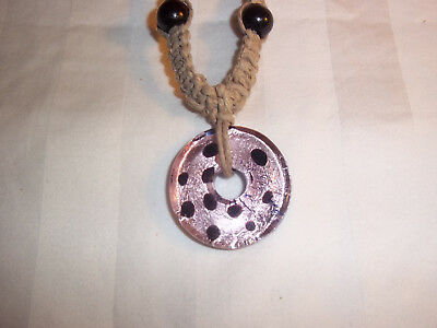 18 Inch HEMP Necklace with PINK & BLACK Glass DONUT Pendant GOTH Hobo H-158