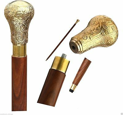 Solid Brass Knob Head Handle Vintage Walking cane Wooden Stick Antique Style New