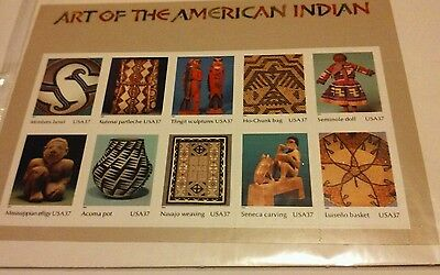 """""""ART of the AMERICAN INDIAN"""" SHEET 10 STAMPS SEALED"""