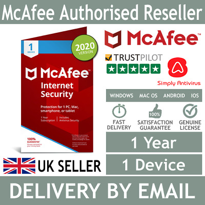 McAfee Internet Security 2020 1 Device 1 Year - *5 Minute Delivery by Email