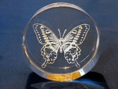 Lovely Butterfly Laser Art cut glass paperweight Crystal Clear Collectables