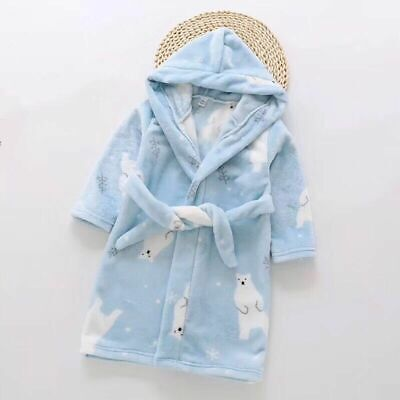 Boys Size 3-8 Coral Fleece Dressing Gown Robe Hooded Blue Bear Print