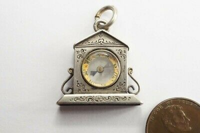 ANTIQUE LATE VICTORIAN ENGLISH SILVER CLOCK SHAPED COMPASS FOB / CHARM c1897