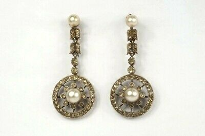 PRETTY ANTIQUE ART DECO SILVER & GOLD PASTE PEARL EARRINGS C1920's