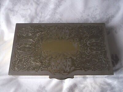 Vintage VINERS Chased Silver Plated Cigerette/Jewellery/Trinket Box Wood Lined