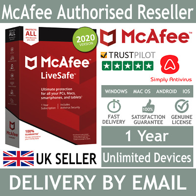 McAfee LiveSafe 2020 Unlimited Multi Devices 1 Year  *5 Minute Delivery by Email