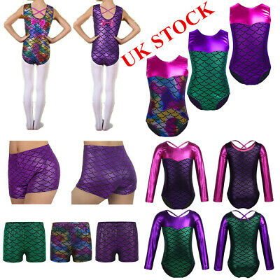 Girls Ballet Dance Leotard Gymnastics Shiny Leotards Dancewear Mermaid Costumes