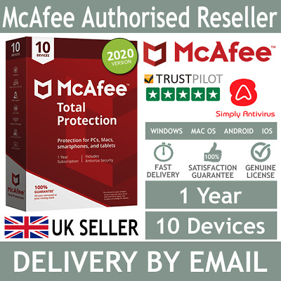 McAfee Total Protection 2020 10 Multi Devices 1 Year 5 Minute Delivery by Email*