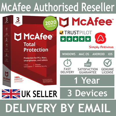 McAfee Total Protection 2020 3 Multi Devices 1 Year  *5 Minute Delivery by Email