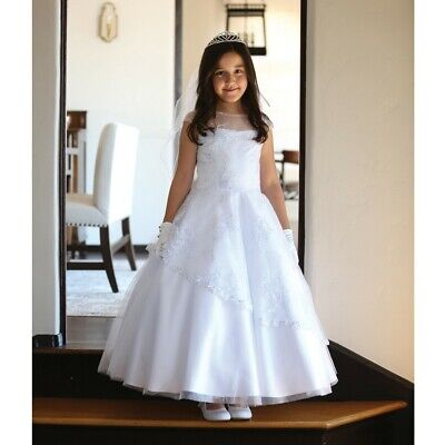 bfb6cbca37d ANGELS GARMENT BIG Girls White Detailed Mesh Communion Dress 14 ...
