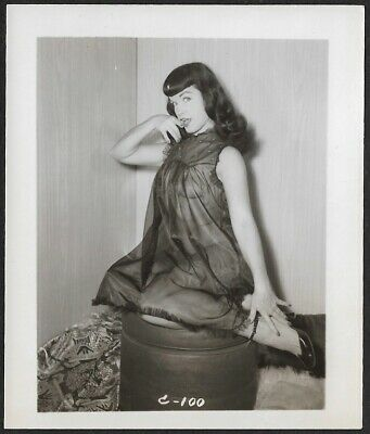 Vintage 1950s Original Bettie Page Sheer Nightie Coquette Sexy Pin-Up Photograph
