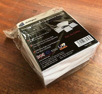 50 / 100 / 200 Cd/Dvd Mailers Strong Cardboard Card Sleeves Envelopes -Amps
