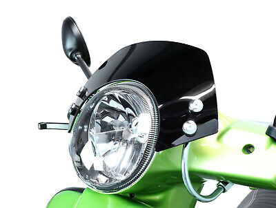 Black Flyscreen with brackets - Vespa GTS Super 125-300cc