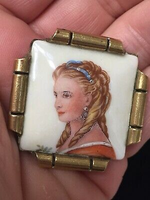 "Rare Vintage Art Deco ""LIMOGES"" Of FRANCE"" FRENCH Porcelain Portrait Pin/Brooch"