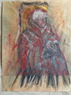 """Mid-Century Abstract Expressionist Mixed Media Portrait, Signed """"s. Abbey '61""""!"""