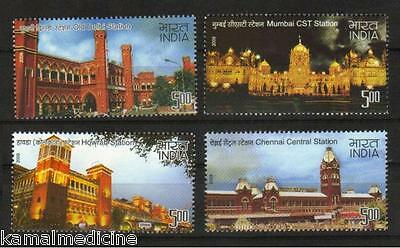 India 2009 MNH 4v, Heritage Railways Stations, Trains (T3)
