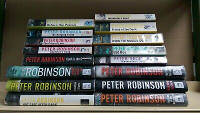 PETER ROBINSON: Job lot box collection of 16 adult fiction books
