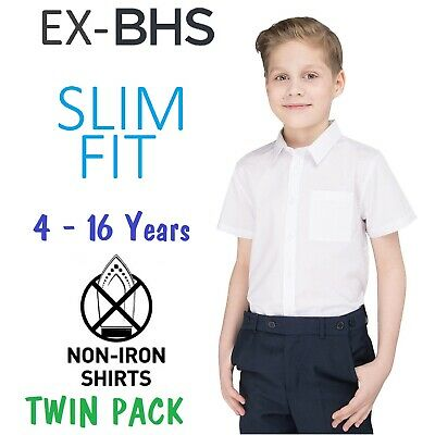 Ex BHS Boys Slim Fit School Shirt (PACK OF 2) White Short Sleeve Ages 4-16