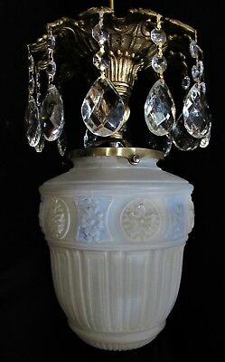 Vtg Deco Era Slip Glass Shade Crystals Chandelier Ceiling Fixture Pendant 1940's