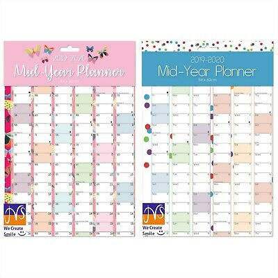A1 2019-2020 Academic Mid Year Wall Planner Calendar-Large Mid-Year Door Planner