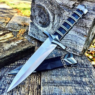"11"" Dark Assassin Stainless Medieval Short Sword Dagger w/Sheath Knight"
