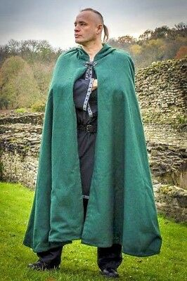 LARP Medieval Reenactment Wool Cloak With Cotton Lining Fancy Dress in 5 Colors