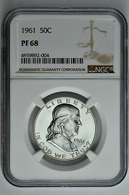 1961 50c Silver Proof Franklin Half Dollar NGC PF 68