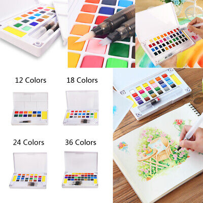 12/18/24/36 Watercolor Paint Box With Paintbrush Portable Universal Fashion 2019
