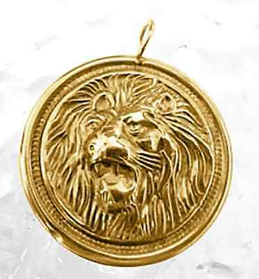 COOL Detailed Lion King Pendant charm 24kt Gold plated Sterling silver .925 jewe