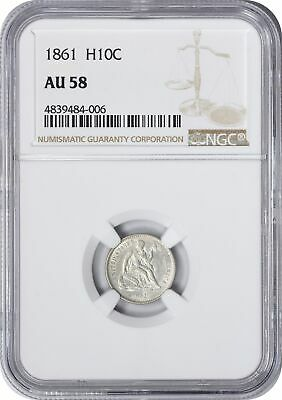 1861 Liberty Seated Half Dime AU58 NGC