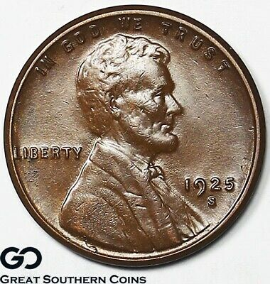 1925-S Lincoln Cent Wheat Penny, Sought After BU+ Better Date