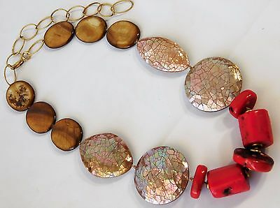Vtg CHINESE OOAK Red Coral Abalone Shell Large Chunky GOLD FIL CHAIN Necklace