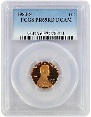 1983-S Lincoln Cent PR69RD DCAM PCGS Proof 69 Red Deep Cameo