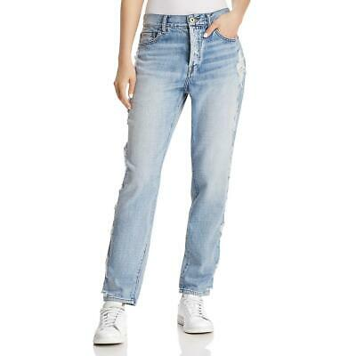 2c666db95a6 Pistola Womens Blue Distressed Button Fly High Rise Boyfriend Jeans 30 BHFO  1007