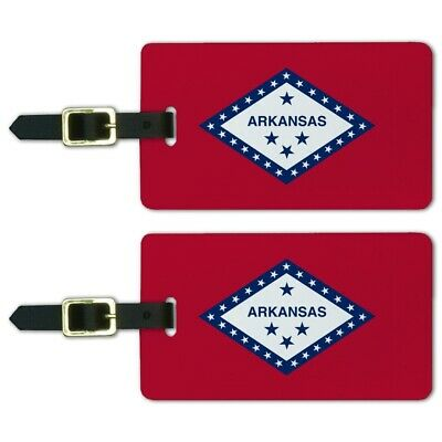 Arkansas State Flag Luggage ID Tags Suitcase Carry-On Cards - Set of 2