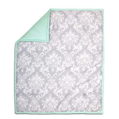 The Peanut Shell Reversible 100% Cotton Crib Quilt Grey Damask/Mint Green - NEW