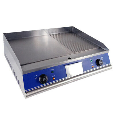 Electric Griddle Commercial BBQ Grill Teppanyaki Countertop Kitchen Hotplate UK