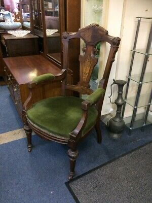 Victorian Inlaid Library/ Throne Chair