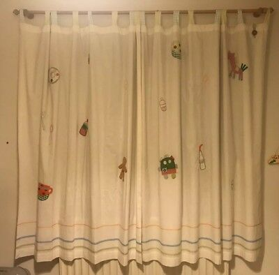 """Mamas And Papas Unisex Gingerbread Design Curtains.Length 62"""".width 47"""".tab Top"""